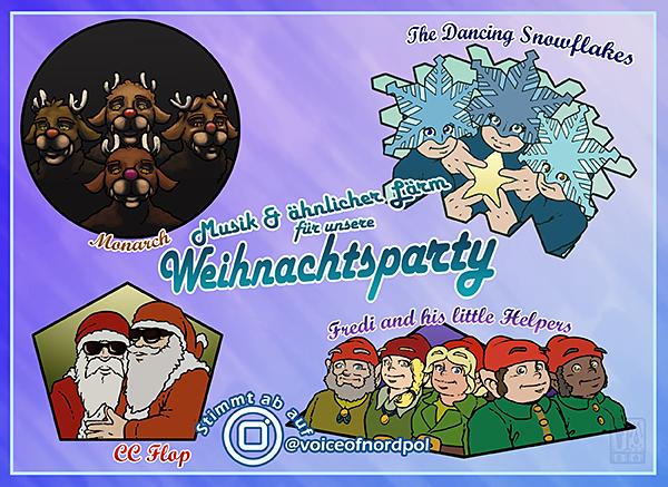 Das Bild stellt einen Flyer für das Weihnachtsfest dar. Darauf abgebildet sind Fotos der vier Band Fredi & his Little Helpers, Dancing Snowflakes, Monarch und CC Flop.